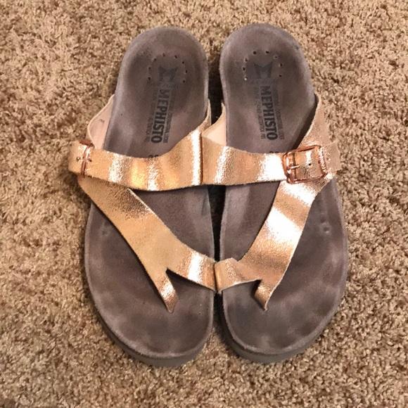 Mephisto Helen Rose Gold Sandals